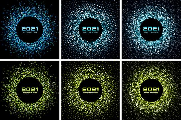 2021 년 새해 밤 파티 세트. 인사말 카드. 녹색 반짝이 종이 색종이. 반짝이는 푸른 축제 조명.