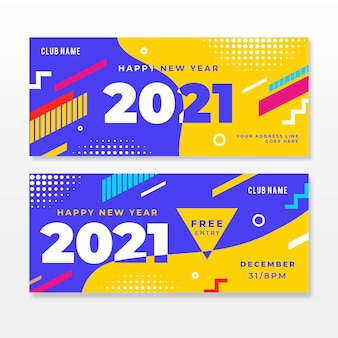 New year 2021 party banners in flat design