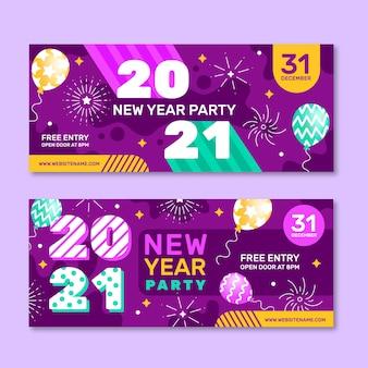 Banner festa di capodanno 2021 in design piatto