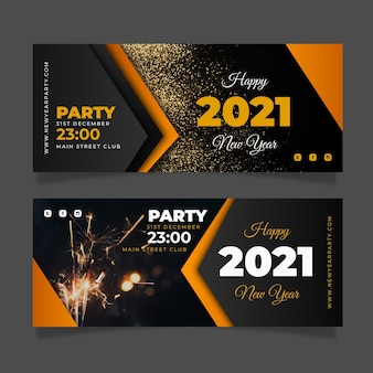 New year 2021 party banners template
