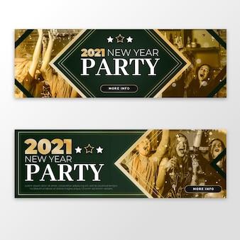 Modello di banner festa di nuovo anno 2021