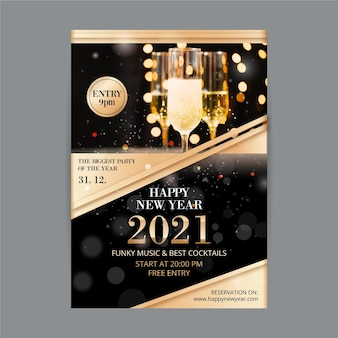 New year 2021 party flyer glasses filled with champagne