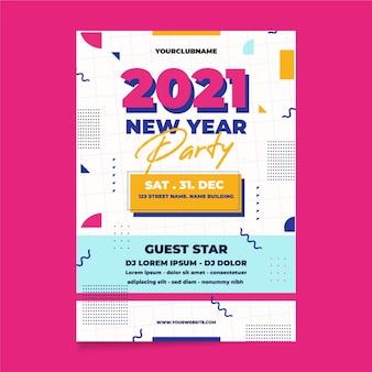 Modello di volantino festa di capodanno 2021 in design piatto