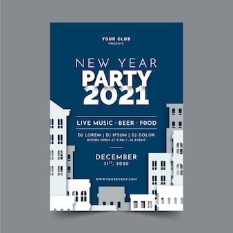 New year 2021 party flyer template in flat design