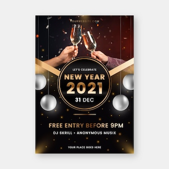 New year 2021 party flyer template with champagne glasses