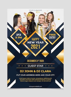 New year 2021 party flyer template with photo