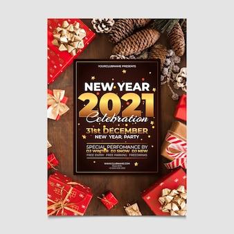 Шаблон флаера новогодней вечеринки 2021 с фото