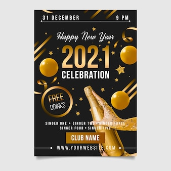 New year 2021 party flyer with balloons and champagne