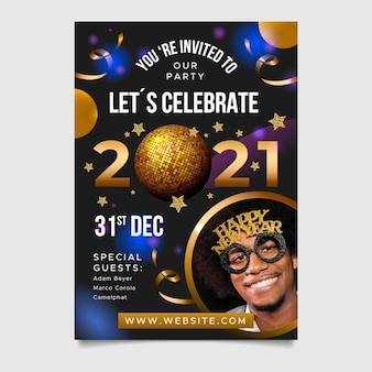 New year 2021 party flyer with balloons