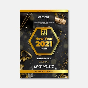 New year 2021 party flyer with confetti