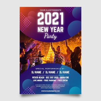 New year 2021 party flyer with photo