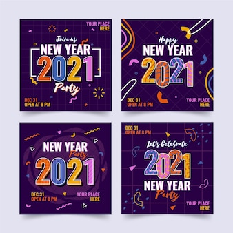 New year 2021 party instagram post collection
