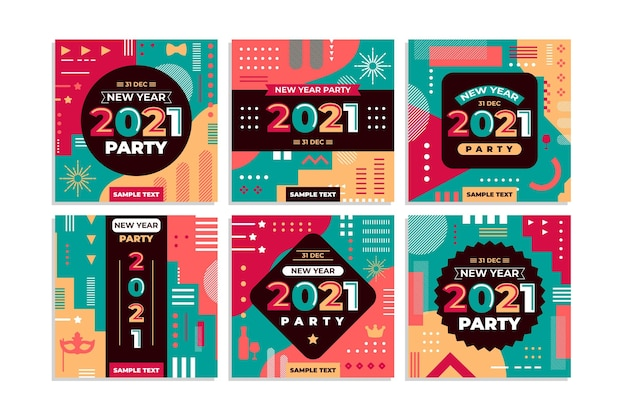 New year 2021 party instagram posts collection