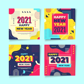 New year 2021 party instagram posts pack