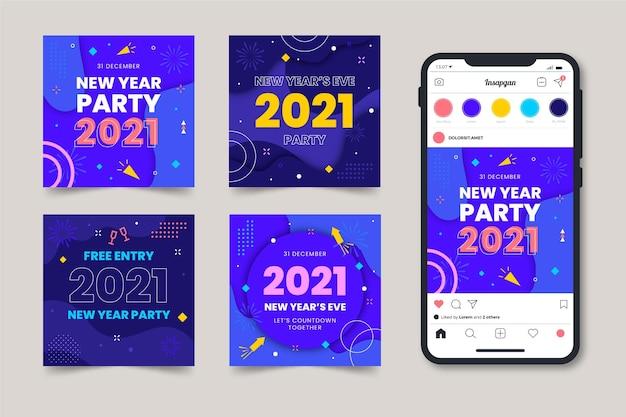2021年の新年のパーティーのinstagramの投稿 無料ベクター