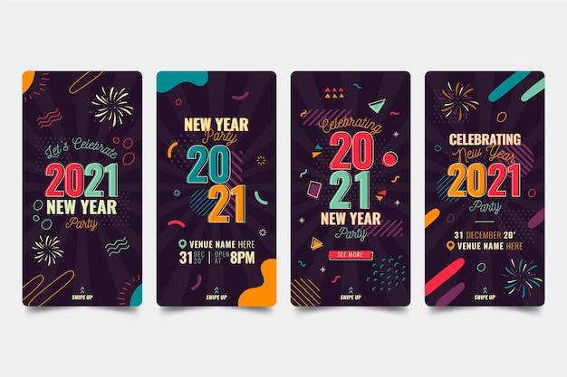 New year 2021 party instagram stories collection