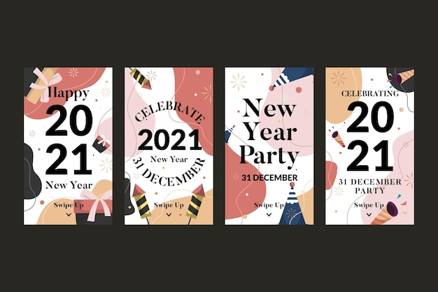 New year 2021 party instagram stories pack
