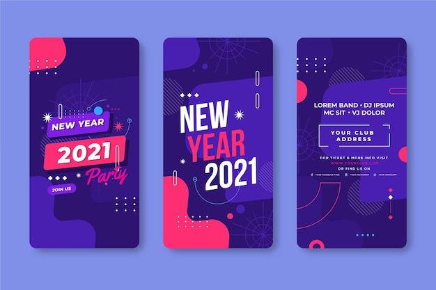 New year 2021 party instagram stories set