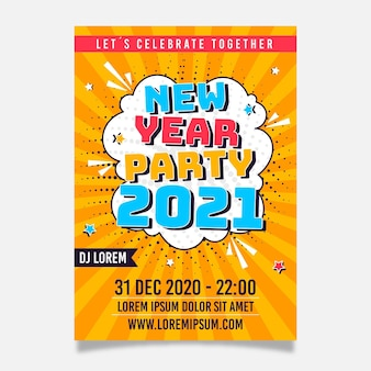 New year 2021 party poster template in flat design
