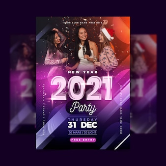 New year 2021 party poster template with photo