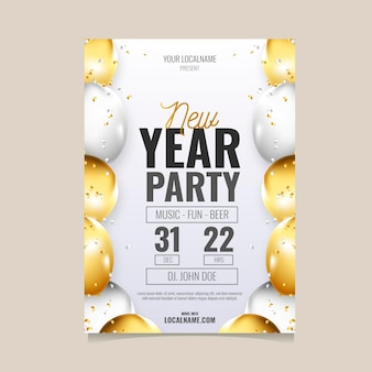 New year 2021 party poster template