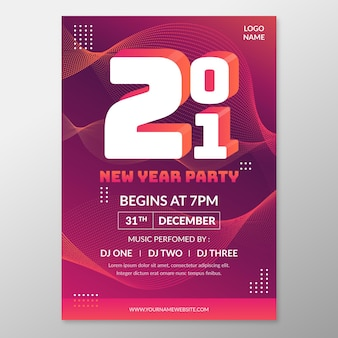 새해 2021 파티 포스터 템플릿