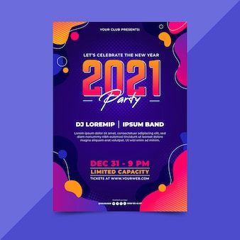 New year 2021 party poster