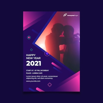 New year 2021 poster template