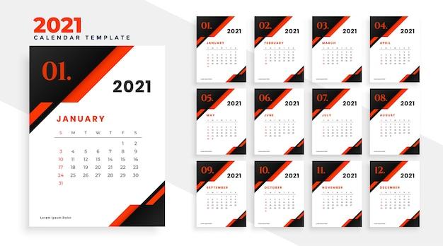새해 2021 빨간색과 검은 색 기하학적 달력 디자인