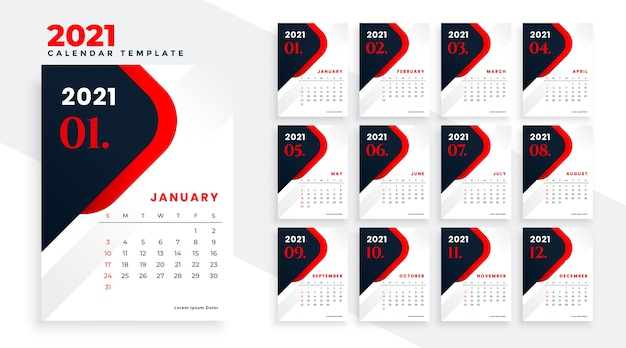 New year 2021 red and black calendar design template