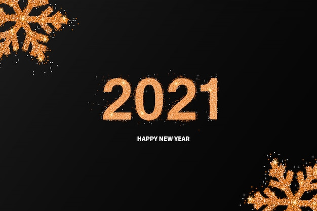 New year 2021 shining background with golden snowflakes