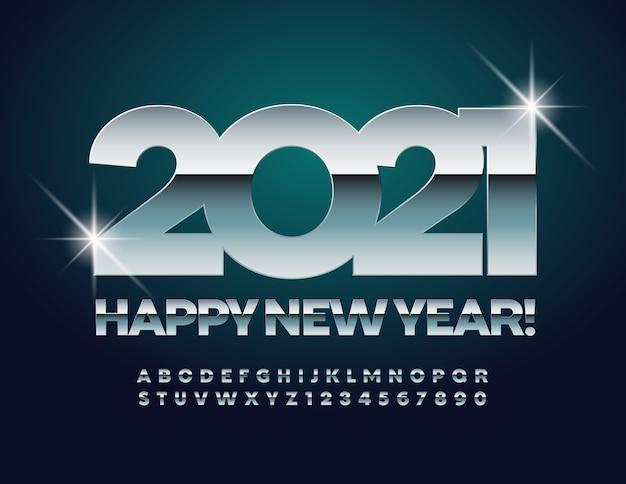 2021年の正月。光沢のあるクロームフォント。シルバーアルファベットの文字と数字のセット