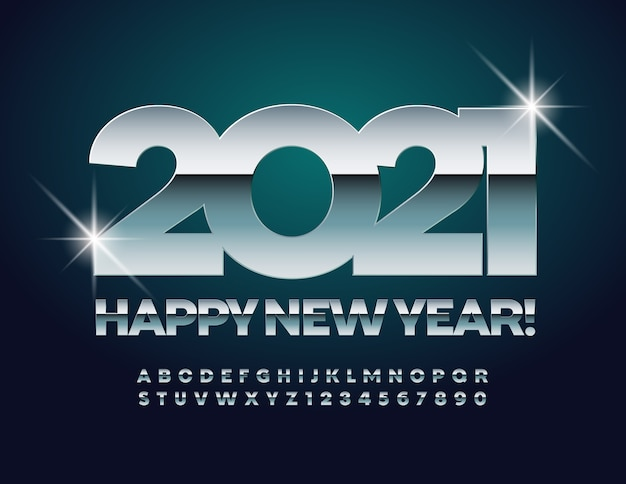 New year 2021. shiny chrome font. silver alphabet letters and numbers set