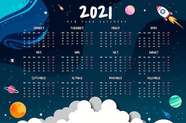 2021 년 새해 공간 달력