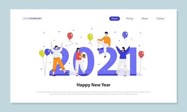 New year 2021 theme for landing page