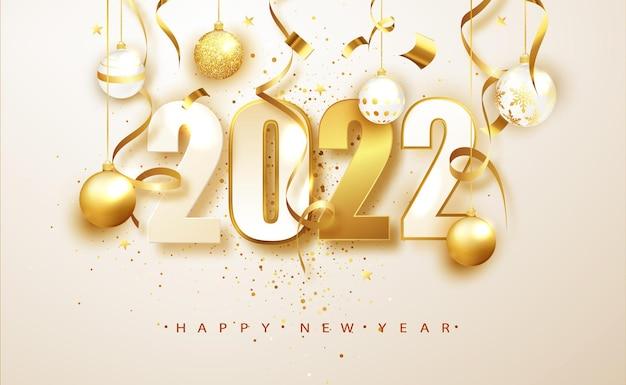Новый год 2022. баннер с числами датирует 2022 год. рождественские украшения и конфетти на белом фоне. праздничный дизайн поздравительной открытки