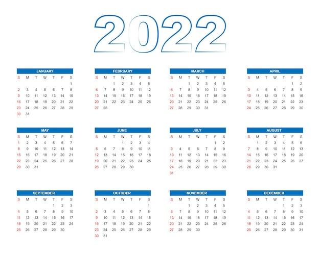 シンプルなスタイルの新年2022年カレンダー