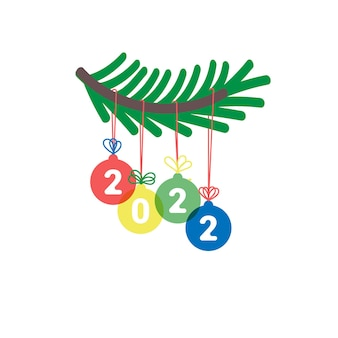 New year 2022 christmas decoration with fir branch and colorful numbers
