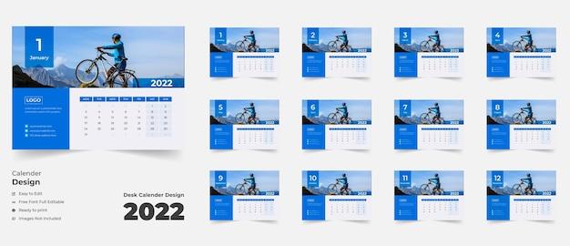 新年2022年卓上カレンダーカラフルな抽象的な形の企業ビジネスのための卓上カレンダー