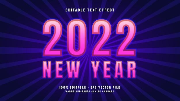 배너 또는 광고에 대한 새해 2022 편집 가능한 텍스트 효과 템플릿