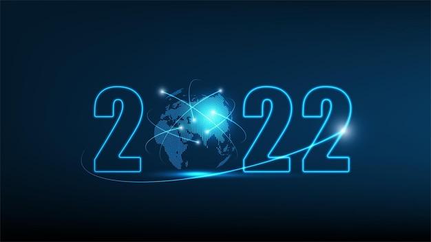 新年2022年グローバルテクノロジーネットワーク接続ベクトル図