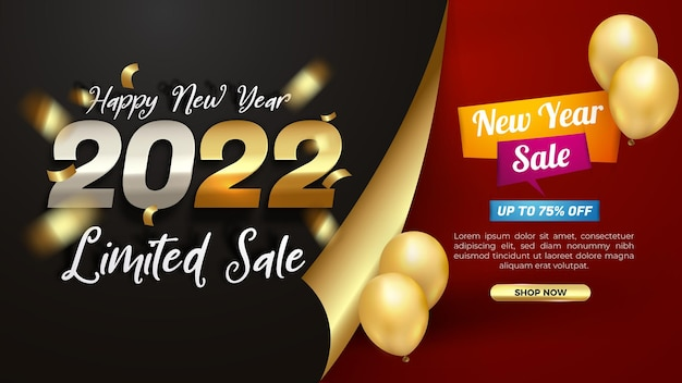 New year 2022 limited sale modern banner template
