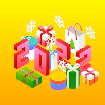 New year 2022 presents concept. vector illustration of winter holiday isometry greeting card.