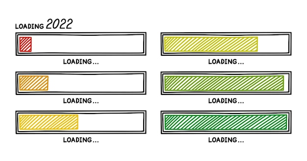 New year 2022 progress loading bar infographics design element with gradient status of completion