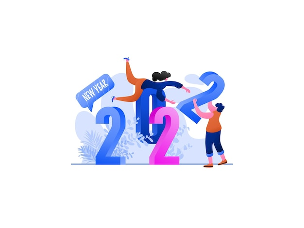 New year 2022 team solid flat illustration, perfect for landing pages, templates, ui, web, mobile app, posters, banners, flyers, development. vector