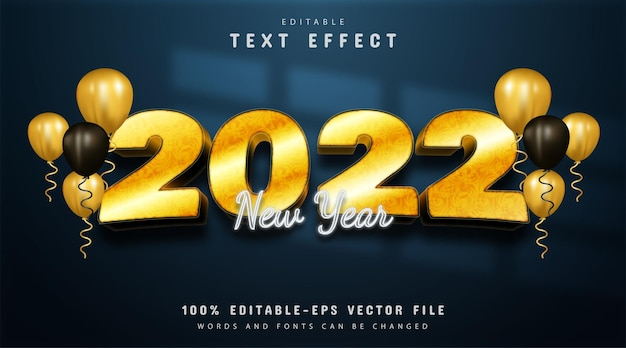 New year 2022 text effect golden style