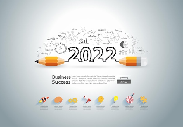 New year 2022 with creative pencil design on drawing charts graphs business success strategy plan ideas concept, vector illustration modern layout template design