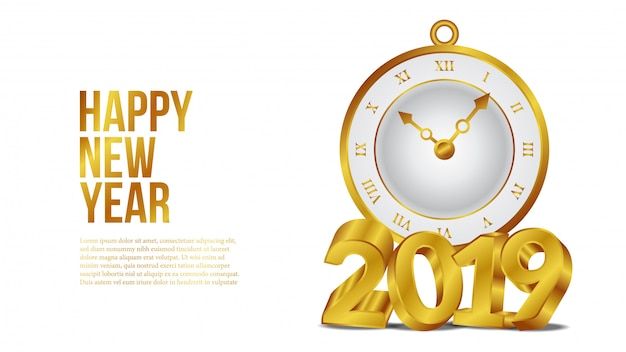 New year 3d golden number with watch