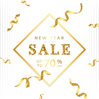 New year 70% off sale sign vector