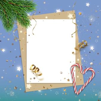 Новый год абстрактный фон с блеском звезд candys ветки елки и чистый лист бумаги
